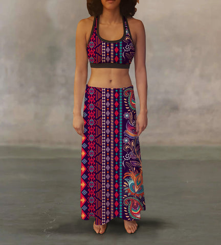 Ethnic Tribal Maxi Skirt
