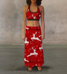 Red White Reindeer Maxi Skirt
