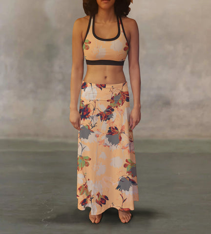 Vintage Watercolor Flowers Maxi Skirt