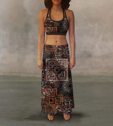 Warm Tone Tribal Maxi Skirt