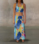 Blue Yellow Flowers Maxi Skirt