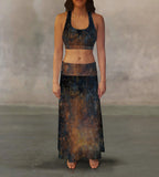 Navy Rust Maxi Skirt