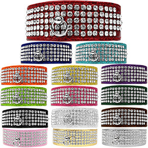 Mirage 5 Row Rhinestone Designer Croc Dog Collar (SIZE 26)