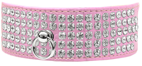 Mirage 5 Row Rhinestone Designer Croc Dog Collar (SIZE 14)