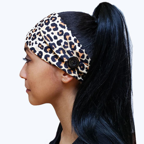 Cheetah Button Headband