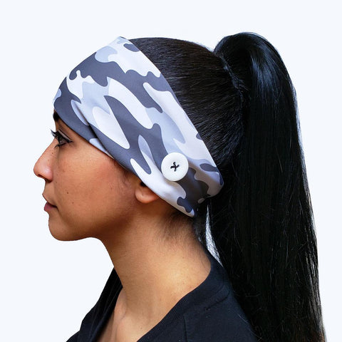 Gray Camouflage Button Headband