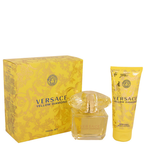 Versace Yellow Diamond by Versace Gift Set -- 3 oz Eau De Toilette Spray + 3.4 oz Body lotion for Women