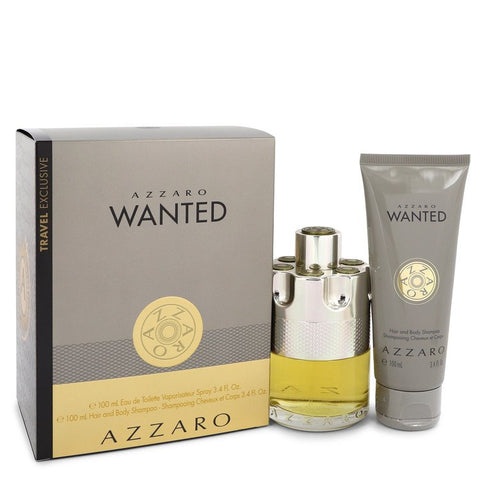 Azzaro Wanted by Azzaro Gift Set -- 3.4 oz Eau De Toilette Spray + 3.4 oz Shower Gel for Men