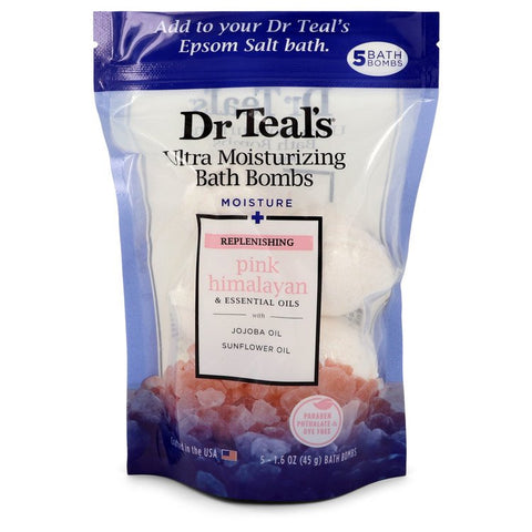 Dr Teal's Ultra Moisturizing Bath Bombs Five (5) 1.6 oz Moisture Replenishing Bath Bombs with Pink Himalayan, Essential Oils, Jojoba Oil, Sunflower Oil (Unisex) By Dr Teal's