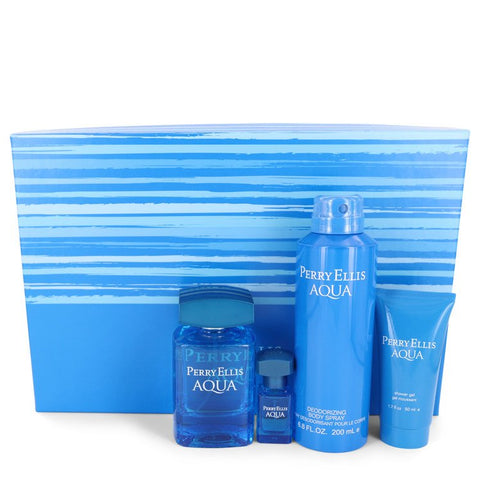 Perry Ellis Aqua by Perry Ellis Gift Set -- 3.4 oz Eau De Toilette Spray + .25 oz Mini EDT Spray + 6.8 oz Body Spray + 1.7 oz Shower Gel for Men