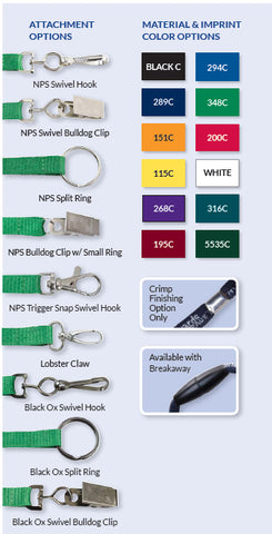 Round woven lanyard attachments and colors