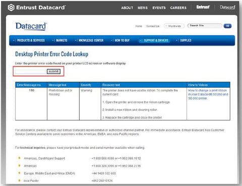 Datacard Desktop Printer Error Code Lookup landing page