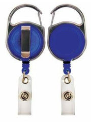Carabiner Badge Reel (Translucent Blue) with Belt Clip and Clear Vinyl Strap 152058BL