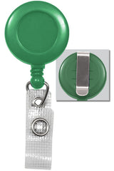Green Badge Reel with Reinforced Vinyl Strap & Belt Clip 2120-3004