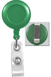 Green Badge Reel with Clear Vinyl Strap & Belt Clip 2120-3034