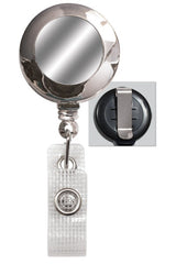 Chrome Badge Reel with Silver Sticker & Belt Clip 2120-3100 CLEARANCE