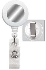 White Badge Reel with Silver Sticker & Belt Clip 2120-3108