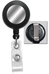 Black Badge Reel with Silver Sticker, Clear Vinyl Strap & Belt Clip 2120-3151