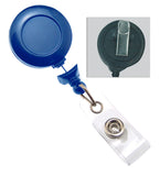 Navy Blue Badge Reel with Clear Vinyl Strap & Swivel Spring Clip 2120-7641