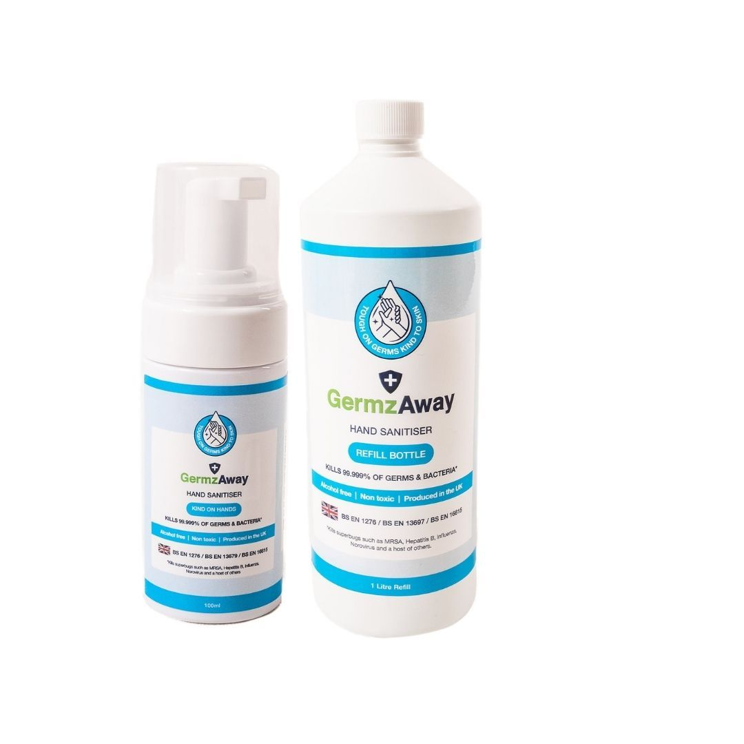 100ml Hand Sanitiser with Alcohol-Free Foam and 1 Litre Refill Bottle.