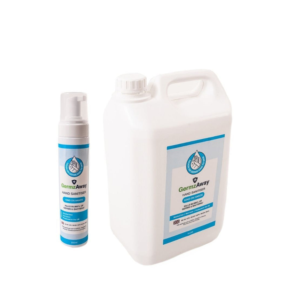 250ml Hand Sanitiser with Alcohol-Free Foam and 5 Litre Refill Bottle.