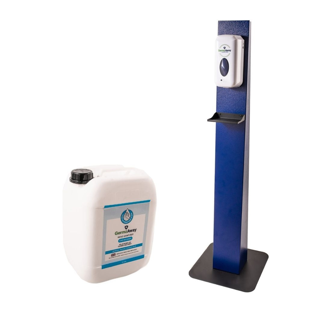Hand Sanitising Dispenser Stands With Auto Dispenser and 10 Litre Jerrycan Refill - GermzAway