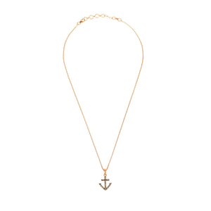 Diamond Anchor Necklace Pink Rose Gold