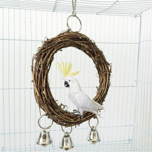 1 Set Rattan Pet Bird Parrot Swing Cage Toy Nature