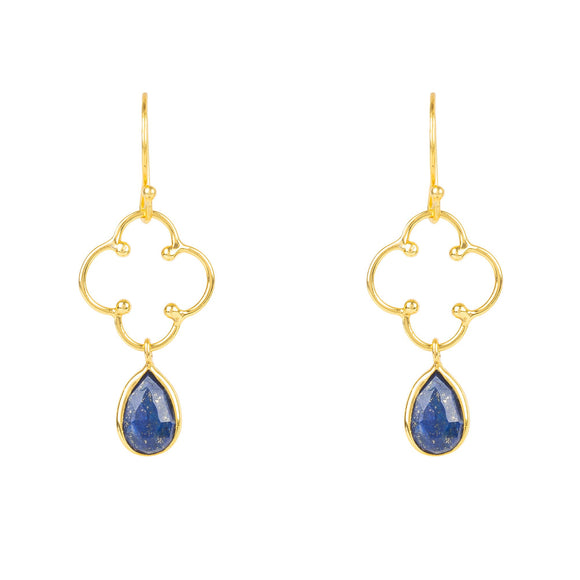 Open Clover Gemstone Drop Earring Gold Lapis Lazuli