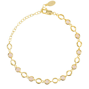 Milan Link Gemstone Bracelet Gold Rose Quartz