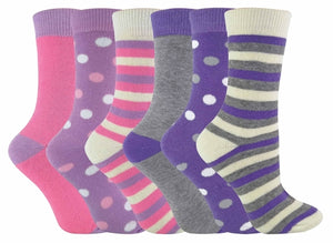 6 Pack Ladies Pink / Purple Thermal Socks
