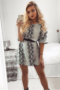 Alex Grey Oversized Snake Print T-Shirt Dress