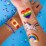 RAINBOW VARIETY SET - METALLIC TEMPORARY FLASH TATTOOS