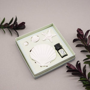 Seashell Porcelain Room Diffuser with Refresh Bergamot Aroma Oil