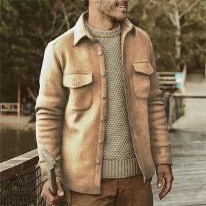 Mens Classic Casual Solid Color Jacket