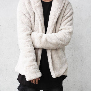 Fashion Loose Plain Floss Zipper Coat