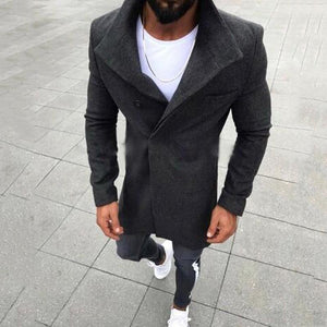 New Fashion Men's Woolen Solid Color Long-Sleeved Jacket