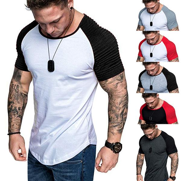 Fashion Color Matching Slim Short-Sleeved T-Shirt