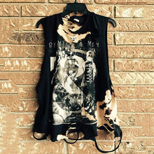 Load image into Gallery viewer, Men's Round Collar Sleeveless Printed Broken Holes Distressed Vest