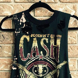 Men's Round Collar Printed Broken Holes Distressed Vest