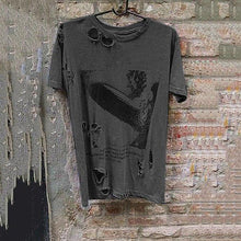 Load image into Gallery viewer, Men's Short-Sleeved Printed Broken Holes Distressed T-Shirt