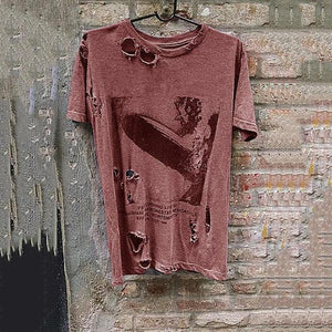 Men's Short-Sleeved Printed Broken Holes Distressed T-Shirt