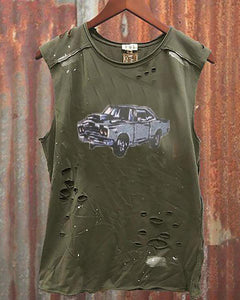 Round Collar Sleeveless Printed Broken Holes Distressed T-Shirt
