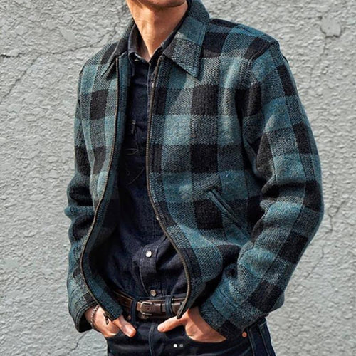 Fashion Lapel Plaid Long Sleeve Jacket