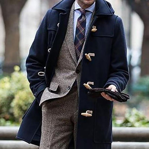 College Style Lapel Horn Buckle Coat