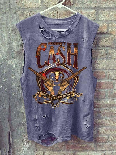 Men's Round Collar Sleeveless Print Broken Holes Distressed Vest