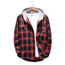 Load image into Gallery viewer, Mens Plaid Loose Hooded Shirt
