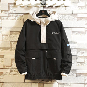 Mens Jacket Hooded Hooded Multi-Pocket Jacket