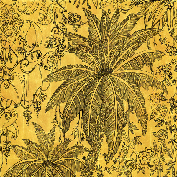 Papier Peint Jungle sur feuille d'or