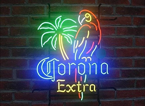 "CORONA PARROT EXTRA PALM TREE Neon Sign Man Cave Signs - 20""x16"""